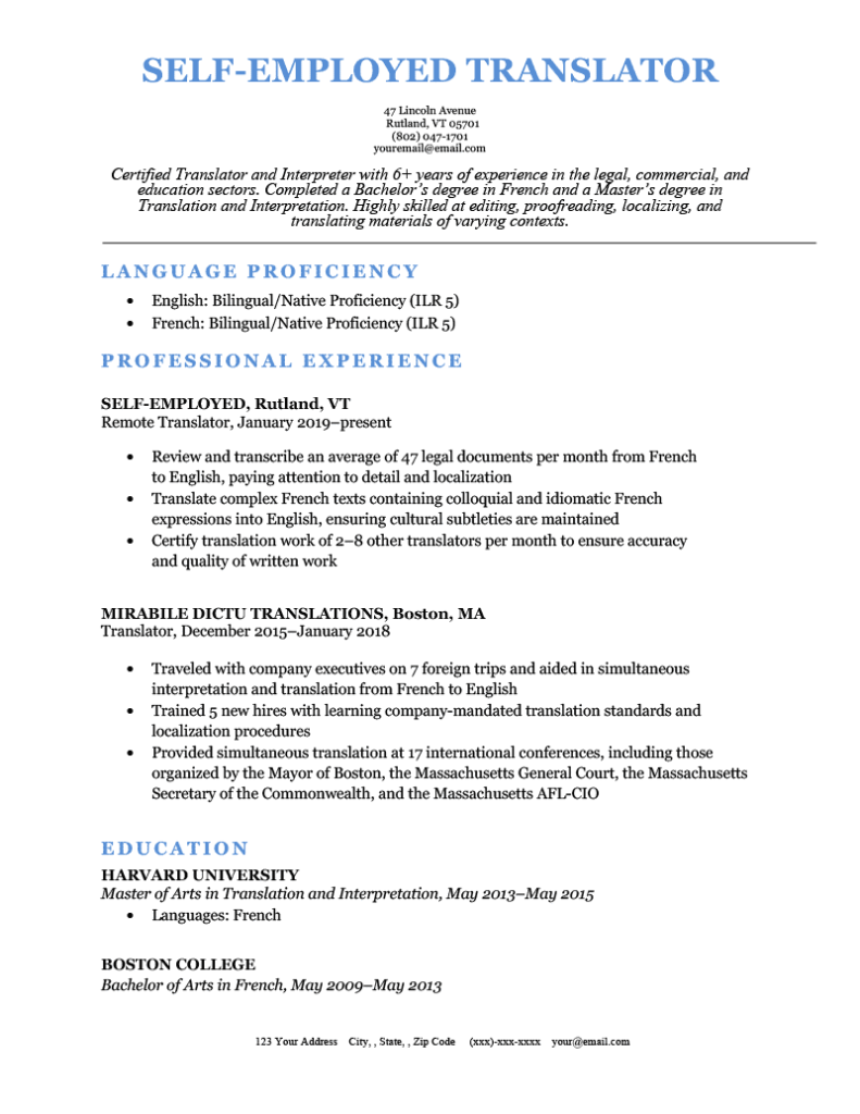 A self-employed translator's resume sample, showing their full-time freelance role.