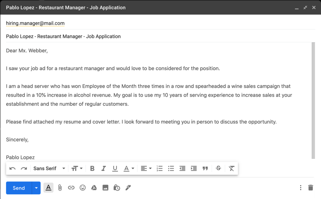 How to Send a Resume by Email — Example