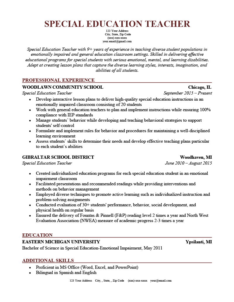 A special education teacher resume example