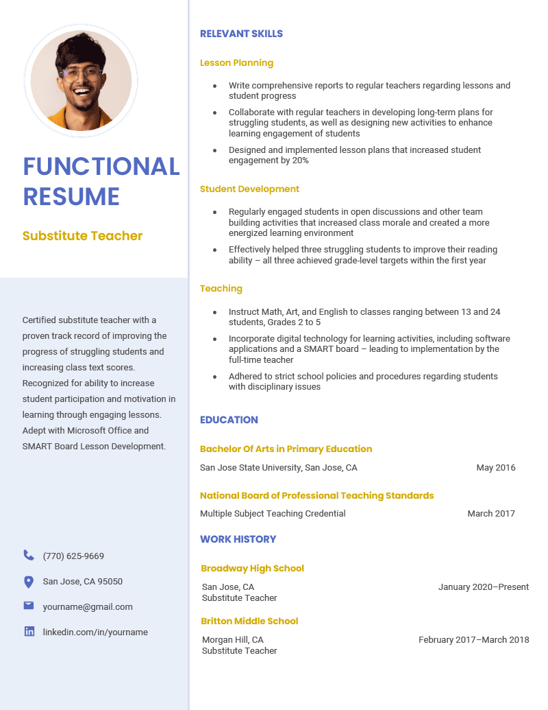 A substitute teacher functional resume example