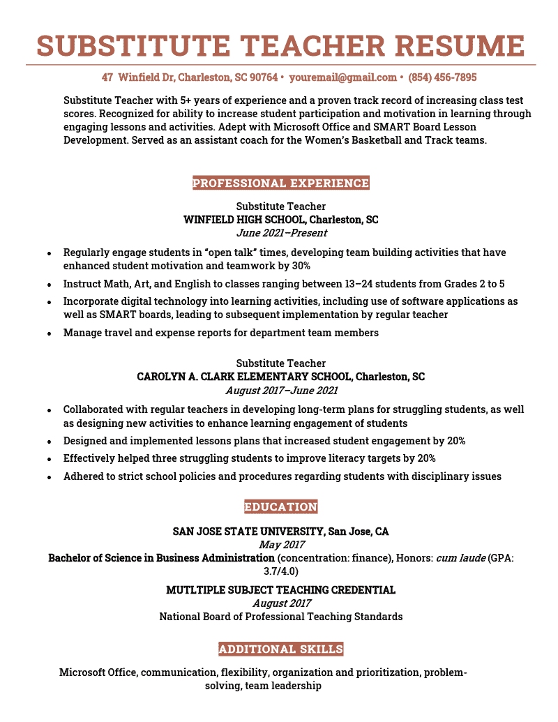 Substitute-Teacher-Resume-Sample
