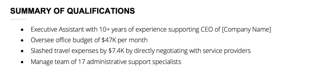 Example of a qualification summary for an executive assistant