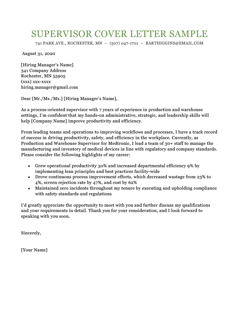 Supervisor Cover Letter Sample Template