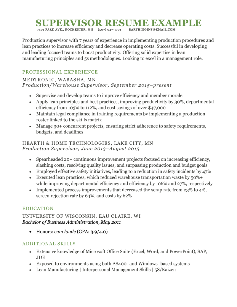 Supervisor Resume Example Template