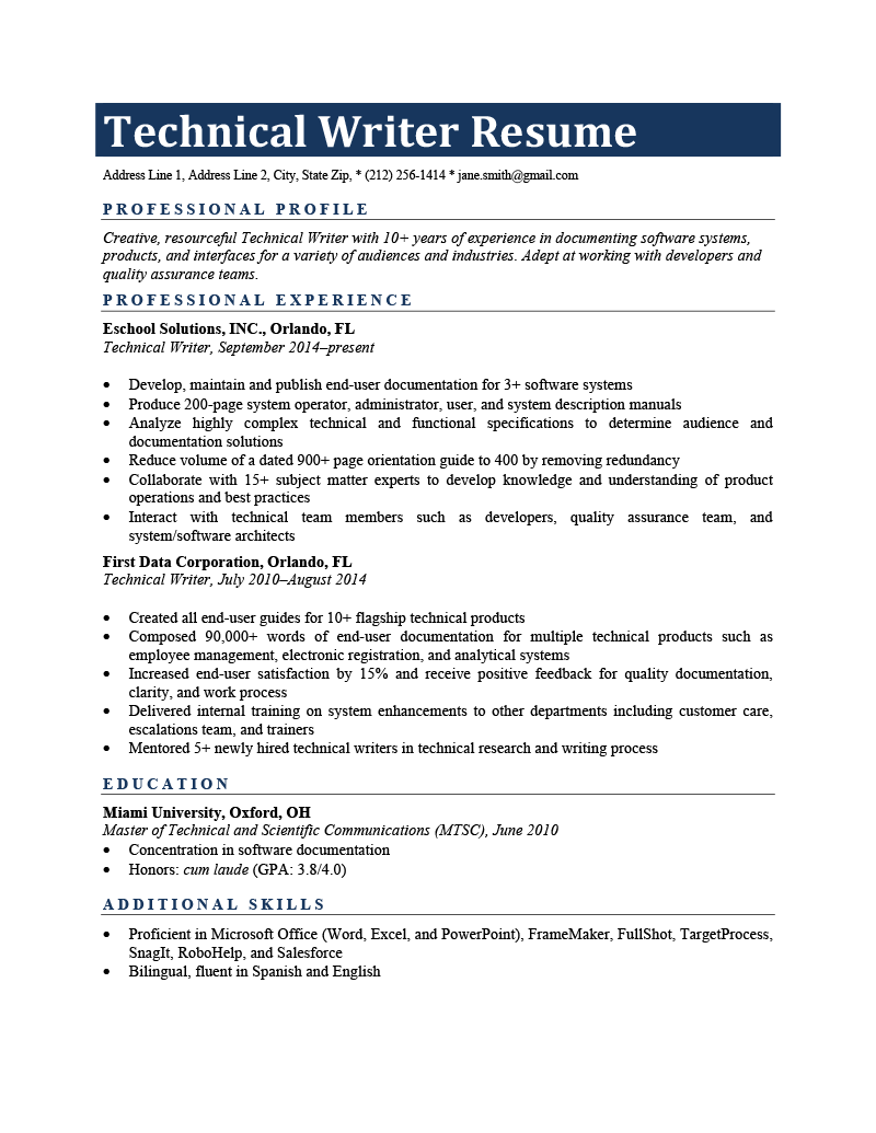 An Example of an Technical Writer Resume
