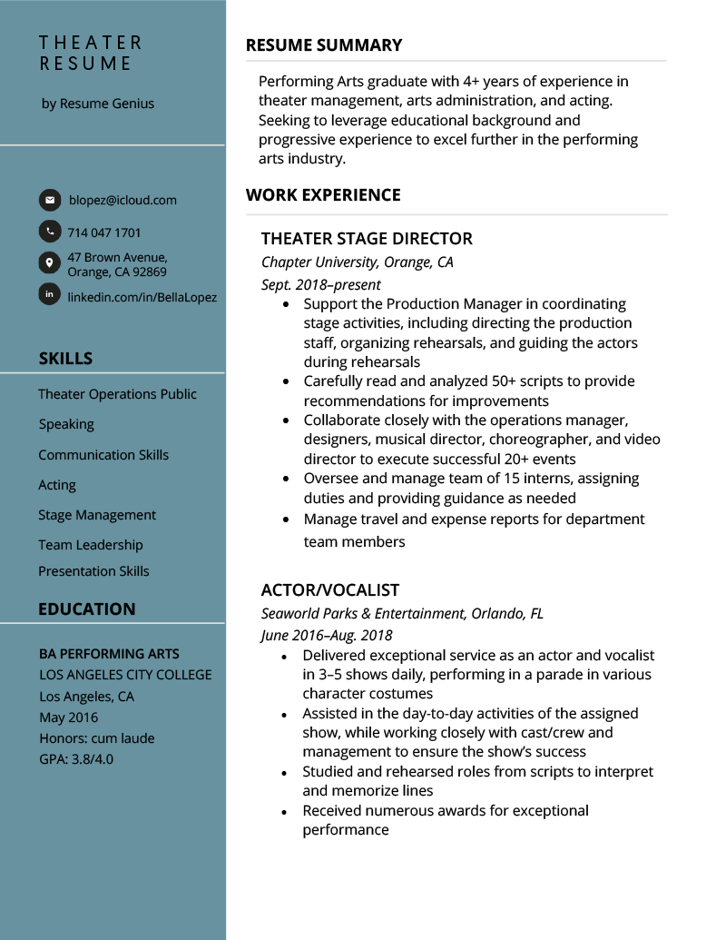 Theater Resume Example Template
