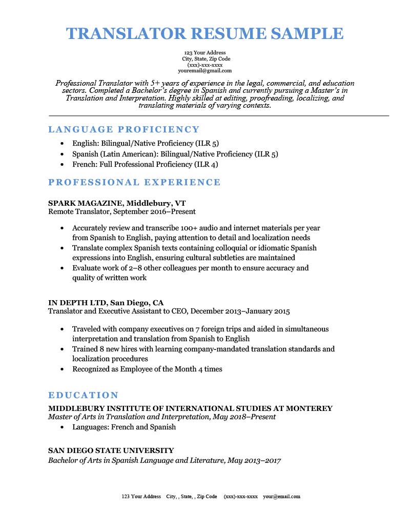 Translator Resume Sample Template