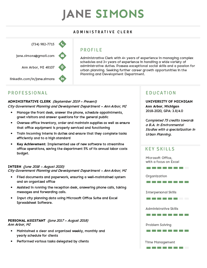 Example of how to list an unfinished degree on a resume.