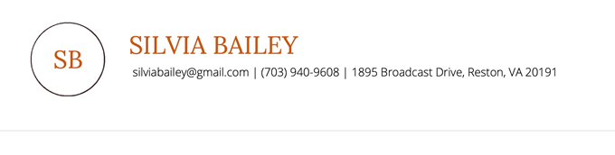 Unique cover letter template in orange to show example of a cover letter header which includes the logo, name, mailing address, phone number, and email address