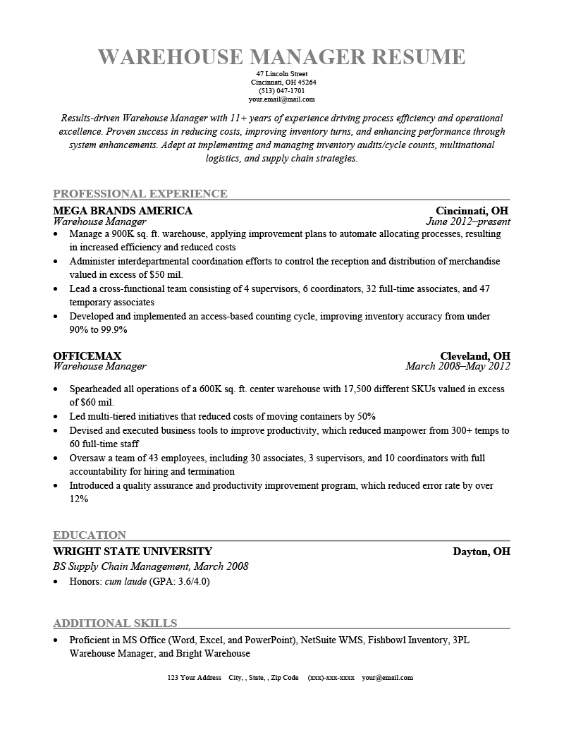 warehouse manager resume sample  tips