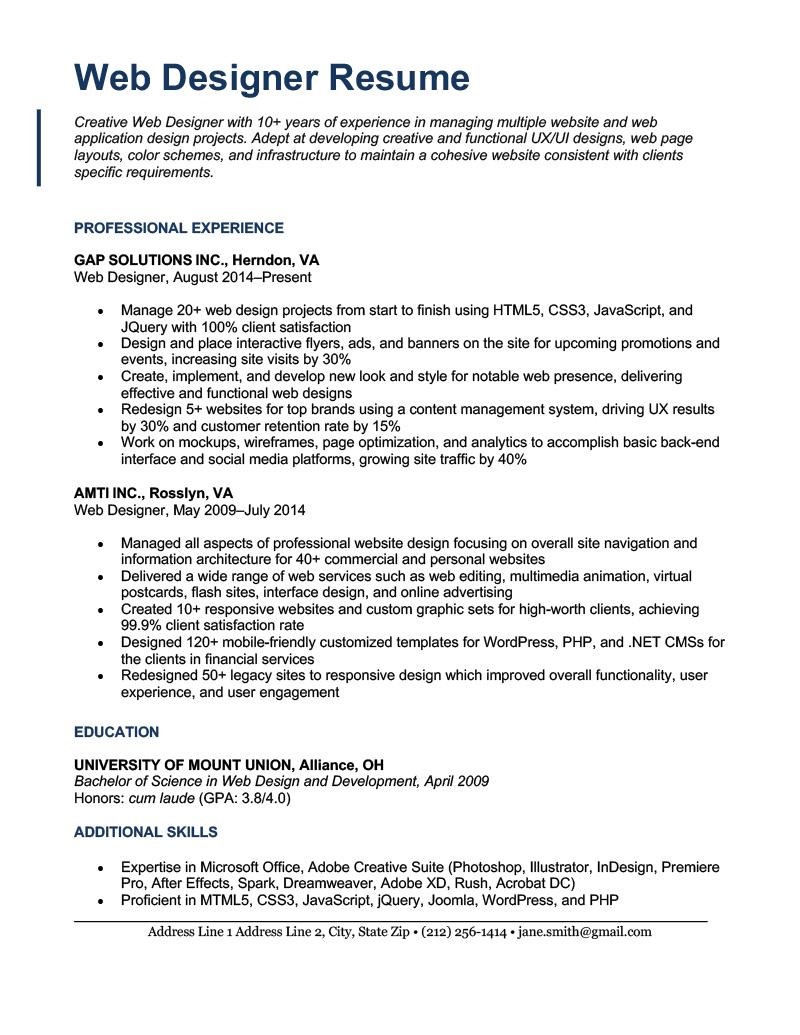 A web designer resume sample