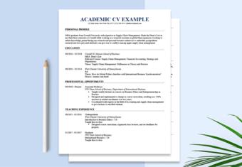 An example of an Academic CV