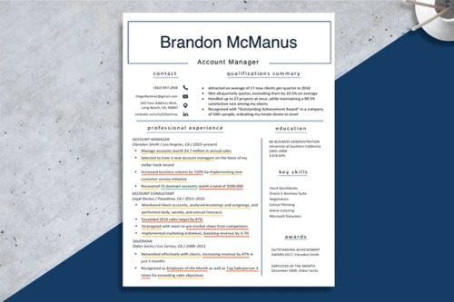 An image showing examples of accomplishments on a resume