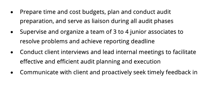 A screenshot of a resume's work experience section that lists accounting skills with hard numbers and examles.