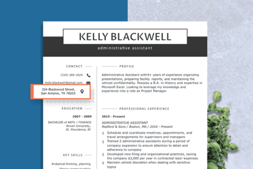 resume image with the address highlighted, how to list your address on a resume concept