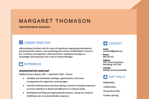 An example of a resume featuring some of the best colors for a resume