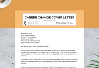 image of a career change cover letter, explains how a job seeker plans to change careers and enter a new field