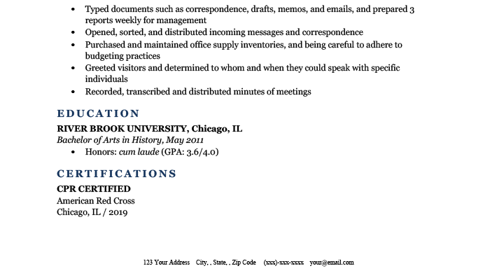 An example demonstrating how to include CPR certification on your resume