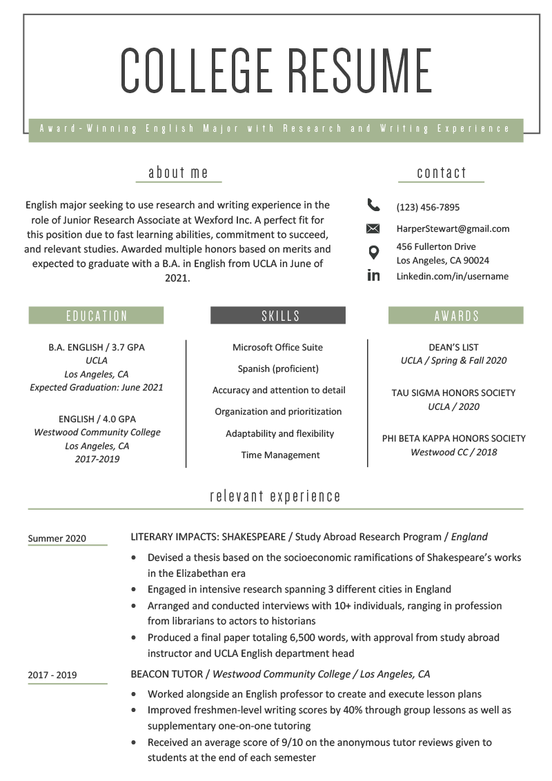 College student resume sample that follows 2021 resume guidelines