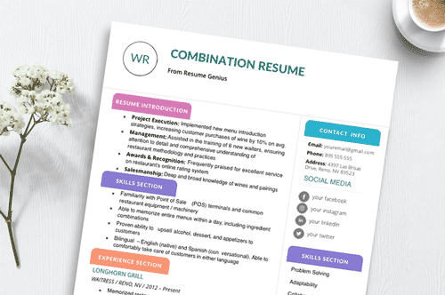 an image that highlights the structure of the combination resume format
