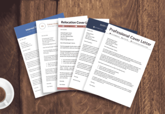 five cover letter examples stacked on top of each other — internal position, career change, relocation, entry-level, and professional cover letter samples together