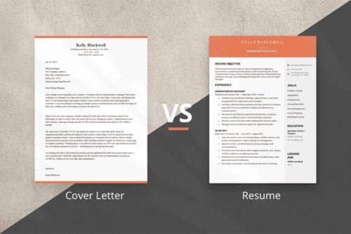 An image showing a cover letter vs a resume