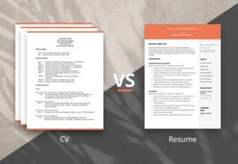 Image comparing a CV vs resume.