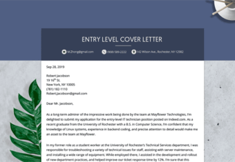 entry level cover letter image, showing readers how to write a cover letter for an entry-level position