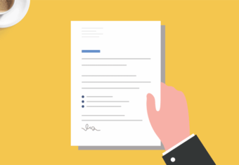 Graphic image of a man holding a generic, general cover letter sample. Simplicity concept