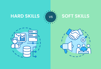 Animated charts, graphs, and people illustrating hard skills vs soft skills