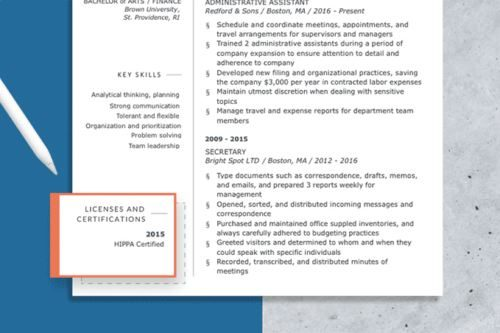 Resume with the licenses and certifications section highlighted, how to list certifications on resume is emphasized