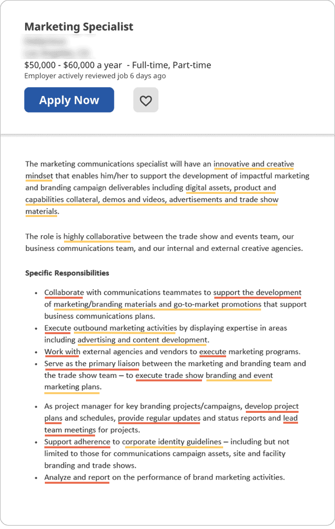 An example of a job ad with key details underlined