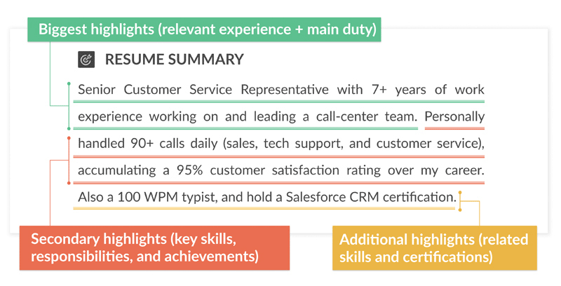 Example of a general resume summary for a job seeker with work experience