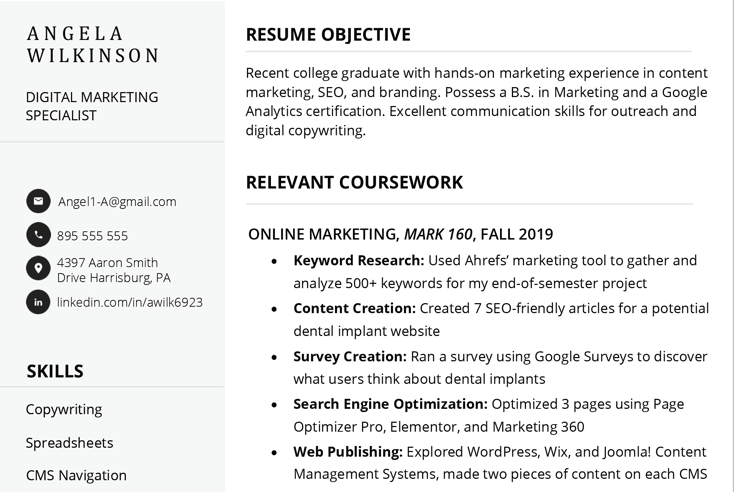 Screenshot of a resume written by a job seeker with no experience, highlighting their relevant coursework to help fill out their resume with valuable information