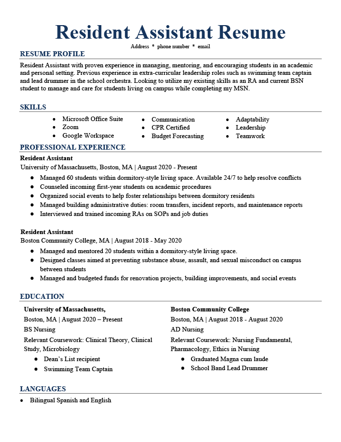 An example of a Resident Assistant Resume