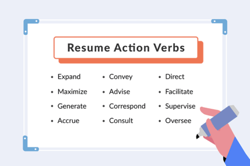 resume action verbs on a whiteboard, hero image