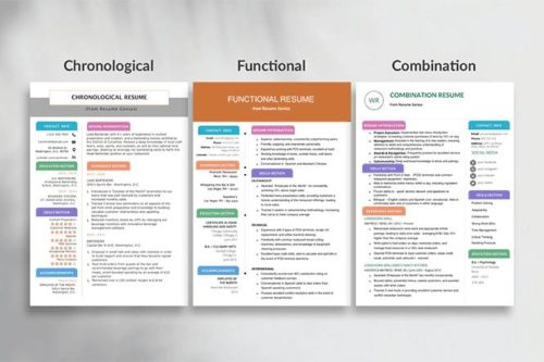 resume formats hero image, chronological resume, functional resume, combination resume format side-by-side comparison