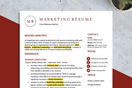 An example of a resume with the resume keywords highlighted