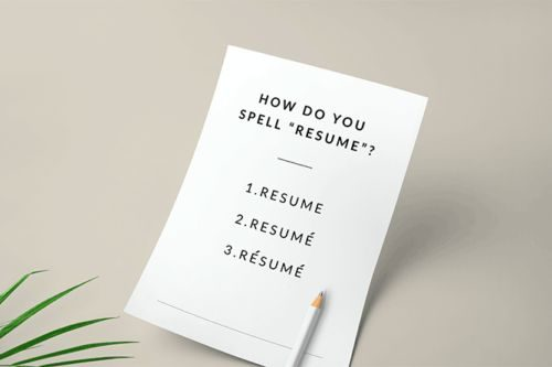 Different ideas for resume spelling.