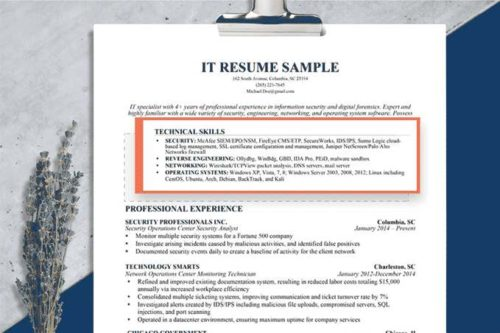 example of a technical skills section in a resume