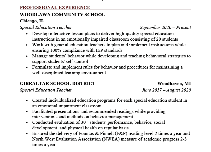 An example of proper tenses on a resume