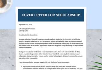 A cover letter for a scholarship.