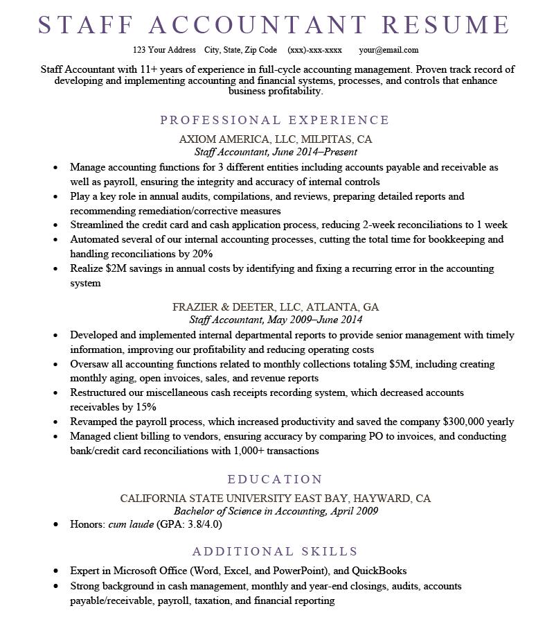 Staff accountant resume sample image, example of a resume for a staff accountant position