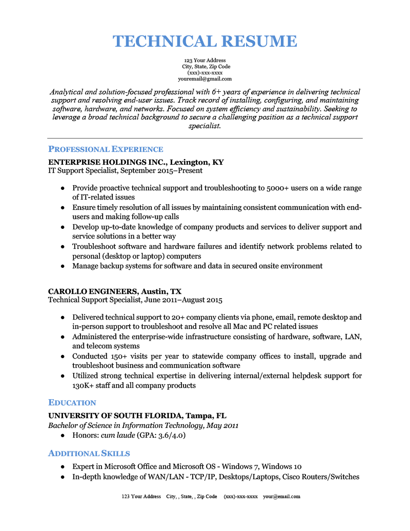 An example of a technical resume