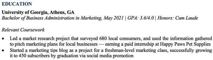 Undergraduate Resume Education Section Example